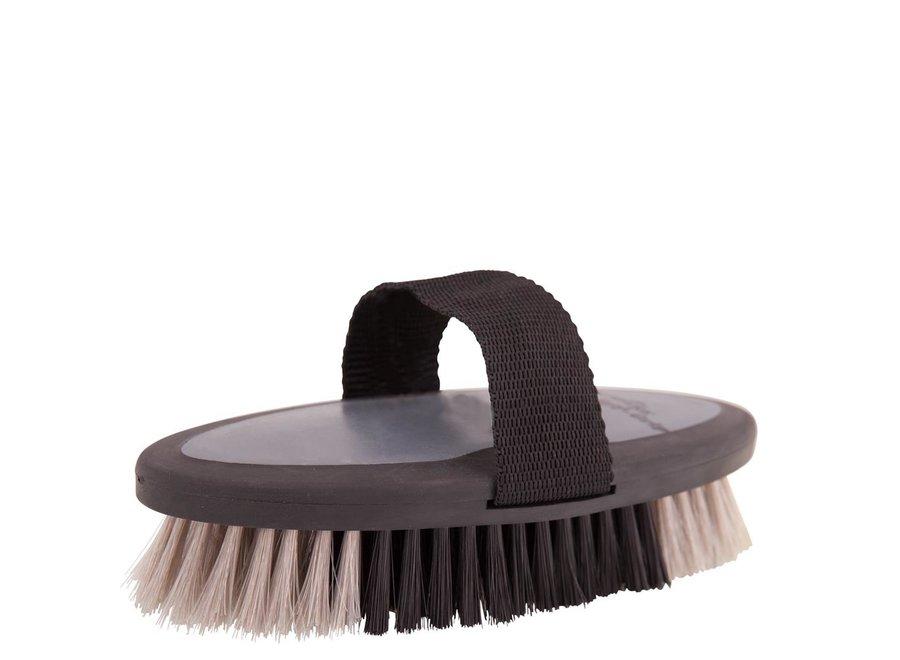 Bodyborstel Soft Grip zacht medium zwart/grijs