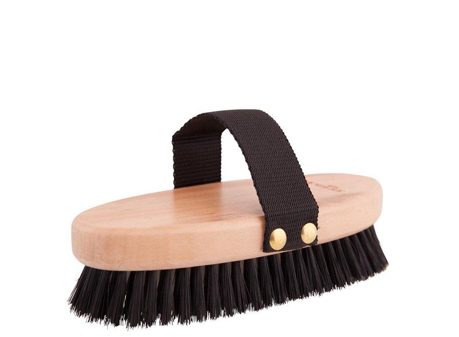 Bodyborstel zacht medium houten rug zwart/wit