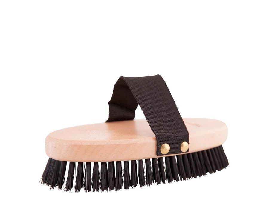 Borstel  body zacht groot houten rug Zwart/wit