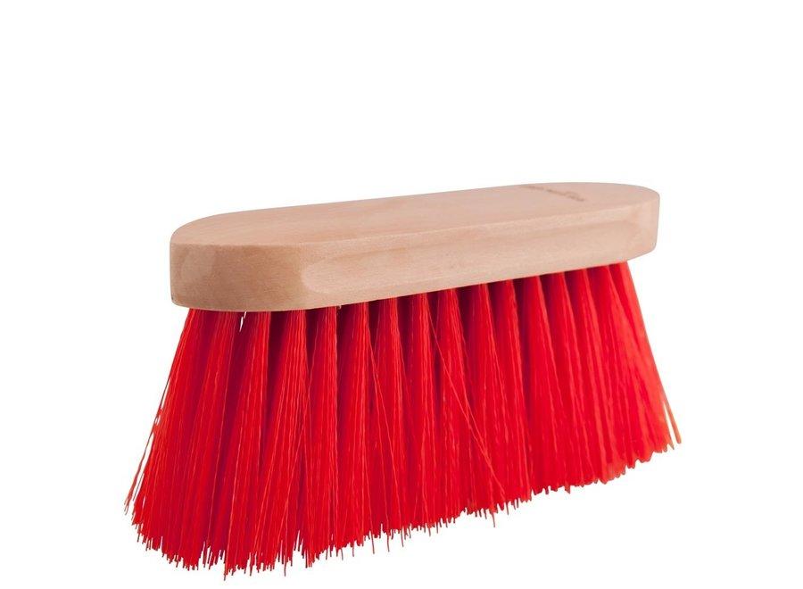 Borstel  Dandy groot 8cm haren houten rug Rood