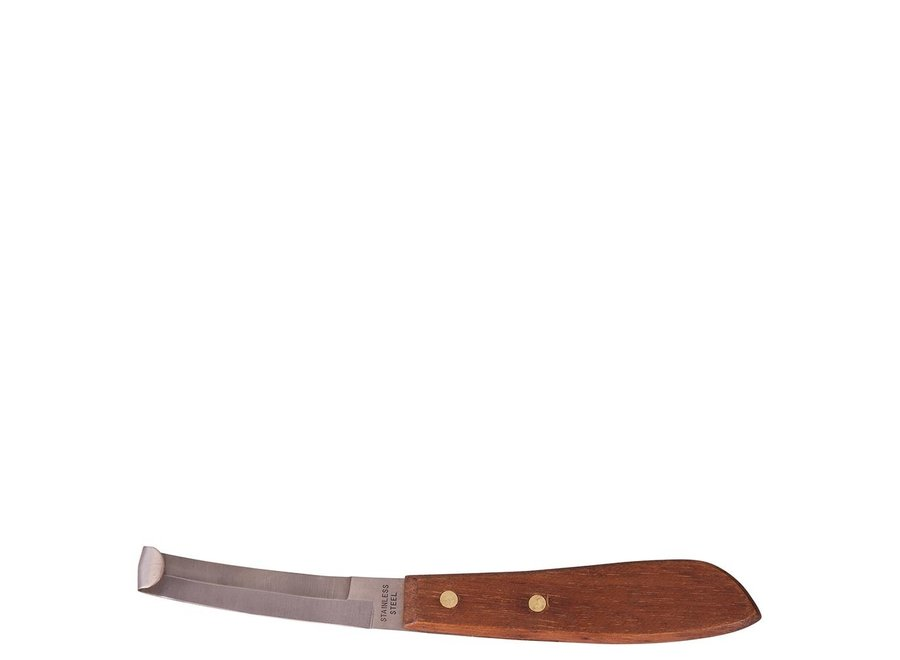 Hoefmes rvs 2-zijdig snijdend houten handvat Bruin