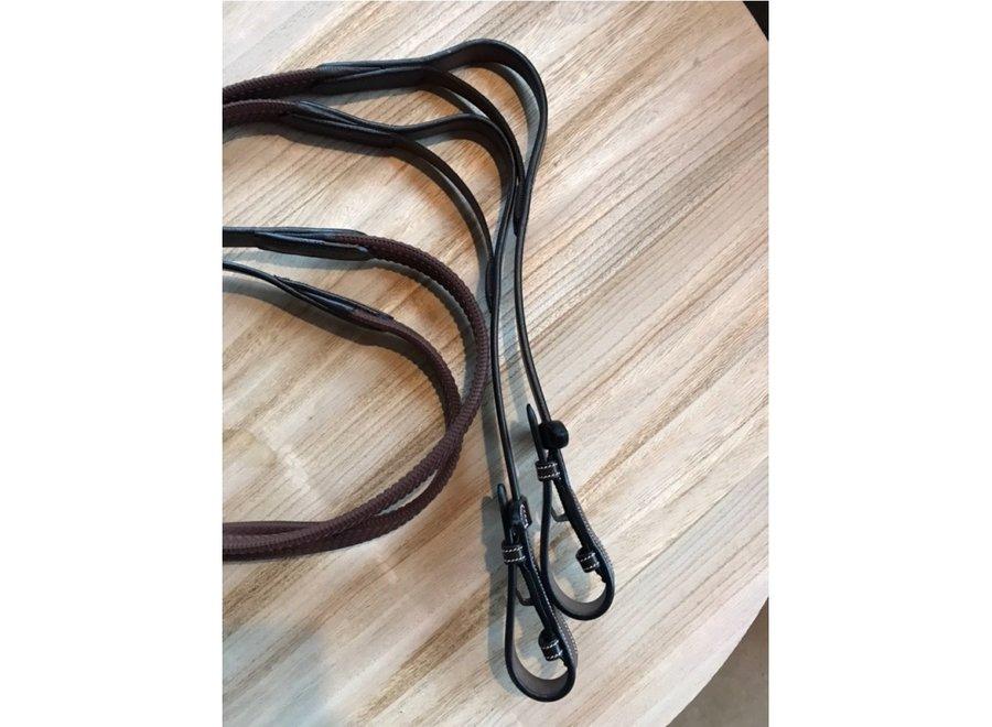 Teugels Elastic leder rubber Zwart