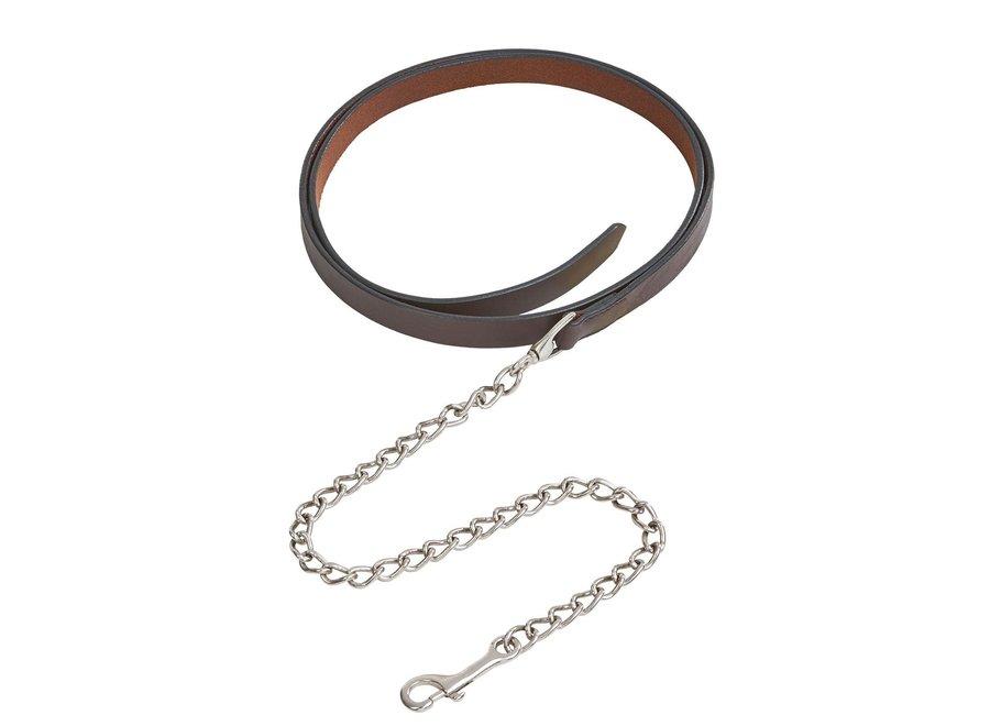 Medina voorbrengleidsel leder met ketting 250cm dark brown