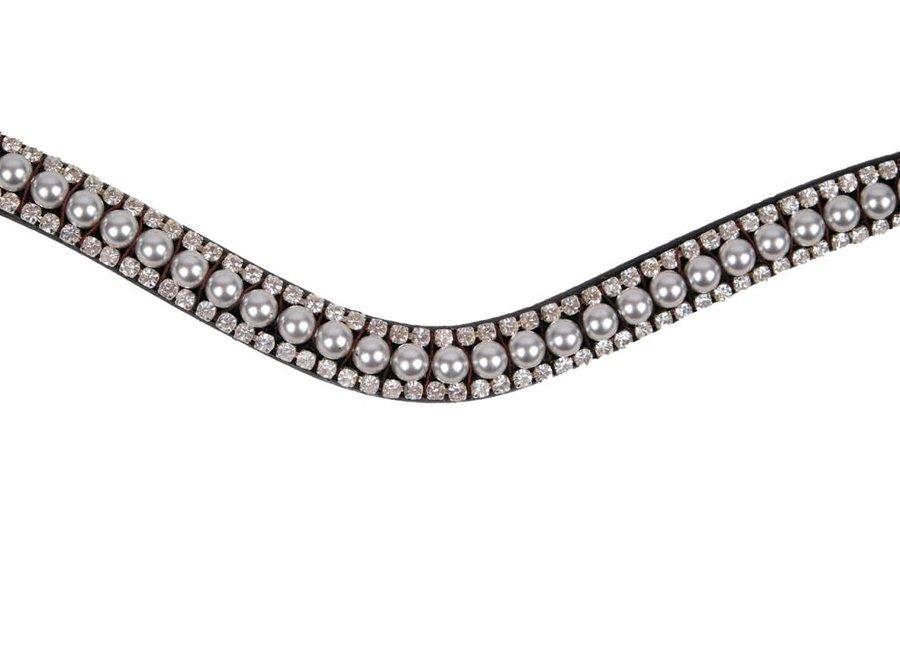 Frontriem Dlux Silver Grey Swarovski Pearls Black
