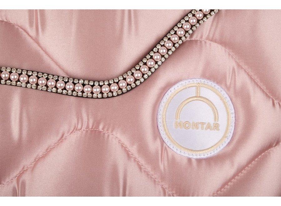 Frontriem Dlux Dusty Pink Swarovski Pearls Black
