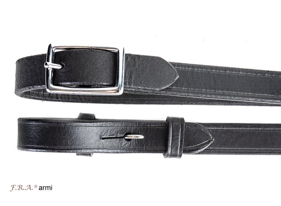 Armi lederen teugel 15mm blinde sluiting 280cm zwart
