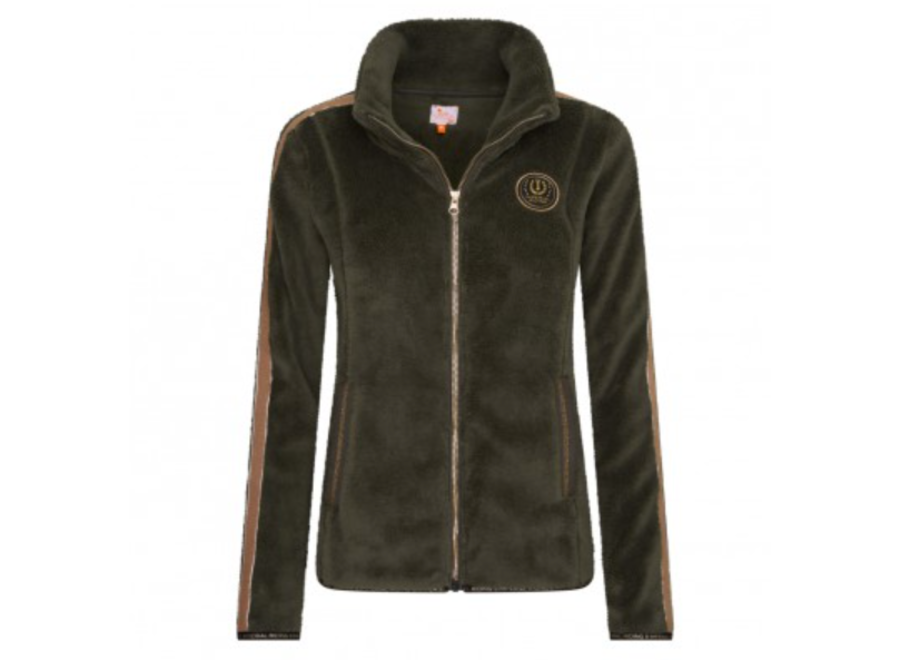 Fleece jacket IRH Furry Chic Dark Olive