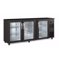 Coreco Barkoelkast Coreco SBE 200 3 deurs zwart | 490 liter | Met 3 glasdeuren | 2005x530x820/880(h)mm