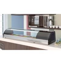 Coreco Coreco opzetvitrine BCCS-4 | Sushi koeler | Etageer vak 4x GN 1/3 h 40 | Geheel RVS | 1050x410x255(h)mm
