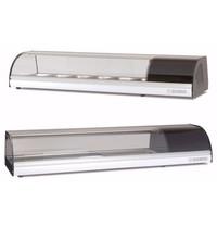 Coreco Tapasvitrine | RVS/Zwart | +4°C/+8°C | Statisch | LED verlichting | Compressor Links | 1400x410x255(h)mm