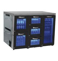 Mastro Barkoelkast | 132 blikjes en 90 flessen | Met 1 glasdeur en 5 lades | 1380x500x875(h)mm
