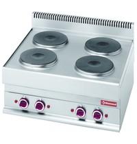 Diamond Fornuis elektrisch 4 ronde kookplaten Top | 10,4 kW/h | 700x650x280/380(h)mm
