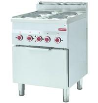 Diamond Fornuis 4 kookplaten 4x 2 kW/h   Met elektrische oven 3 kW/h - GN 2/3   600x600x850/970(h)mm