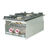 Diamond Gasfornuis 2 branders inbouw | 1x 3,5 7 1x 6 kW | 400x600mm