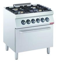 Diamond Gasfornuis 4 branders | 4x 5,5kW | Met elektrische oven GN 2/1 | 800x700x850/920(h)mm