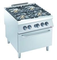 Diamond Gasfornuis 4 branders 4x 10kW/h | Met gas oven powerful GN 2/1 - 8,5kW/h | 800x900x850/920(h)mm