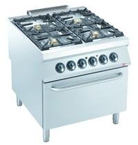 Diamond Gasfornuis 4 branders 3x 6kW/h & 1x 10 kW/h | Met elektrische oven GN 2/1 - 6kW/h  | 800x900x850/920(h)mm