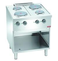 Diamond Fornuis elektrisch 4 ronde kookplaten op kast | 2x 2,6kW/h & 2x 1,5 kW/h | 700x700x850(h)mm