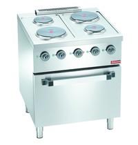 Diamond Kookfornuis elektrisch met 4 platen 2x 2,6 kW/h & 2x 1,5 kW/h   Met elektrische oven GN 2/1 - 4,4 kW/h   700x700x850(h)mm