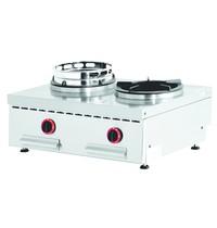 Diamond Wok gasvuur tafelmodel 2 vuren | 2x 13 kW/h | 800x600x275/325(h)mm