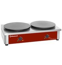 Diamond Pannenkoekenplaat dubbel elektrisch | 2 platen hoog rendement  Ø 400mm geëmailleerd | 7,2 kW/h | 860x500x240(h)mm