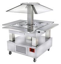 Diamond Eiland buffet saladebar (wit hout) gekoeld | 4x GN 1/1 150mm | 230V | 1040(1435)x1040(1435)x1540(h)mm