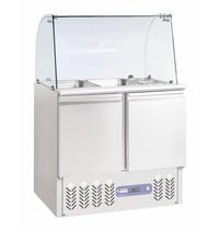 Diamond Saladette met deksel en gebogen ruit 240L | 2x GN 1/1 + 3x GN 1/6 150mm | 2 deurs | Geventileerd | 900x700x870/1180(h)mm