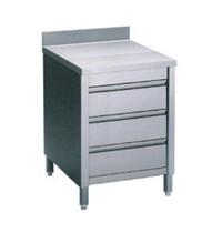 Diamond Werktafelkast met achteropstand en 3 laden GN 1/1 | 600x700x880/900(h)mm
