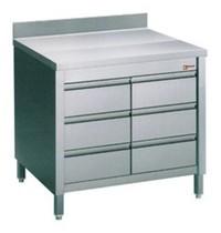 Diamond Werktafelkast met achteropstand en 6 laden GN 1/1 | 800x700x880/900(h)mm