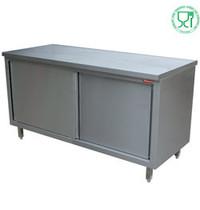 Diamond RVS werktafel met schuifdeuren | 700mm diep | 880mm hoog | Diamond