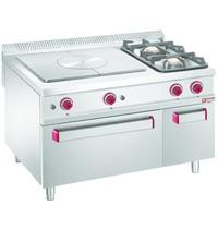 Diamond Gasfornuis 2 branders/doorkookplaat 1x 7kW/h & 1x 11kW/h | Met gas oven 7kW/h met neutrale kast GN 2/1 | 1200x900x850/920(h)mm