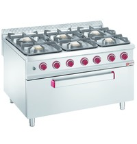 Diamond Fornuis 6 branders 3x 7kW/h & 3x 11 kW/h | Met maxi gas oven 10 kW/h | 1200x900x850/920(h)mm