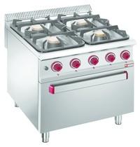 Diamond Gasfornuis 4 branders | 2x 7kW - 2x 11kW | Met elektrische oven GN 2/1 | 800x900x850/920(h)mm