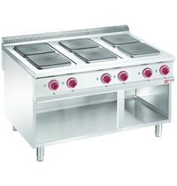 Diamond Fornuis elektrisch met 6 kookplaten op open kast | 4x 3 kW/h & 2x 4 kW/h | 1200x900x850/920(h)mm