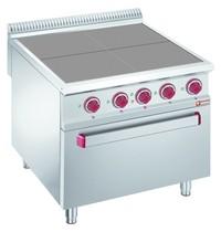 Diamond Fornuis elektrisch met 4 verlaagde kookplaten  4x 2,5 kW/h | Met oven GN 2/1 - 6 kW/h | 800x900x850/920(h)mm