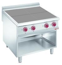 Diamond Fornuis elektrisch met 4 verlaagde kookplaten op open onderstel | 10 kW/h | 800x900x850/920(h)mm