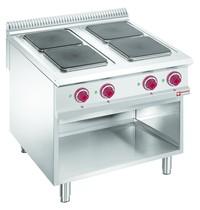 Diamond Fornuis elektrisch met 4 kookplaten op open kast | 3x 3 kW/h & 1x 4 kW/h | 800x900x850/920(h)mm