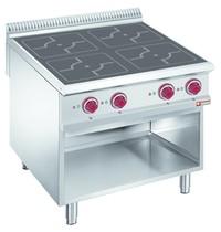 Diamond Fornuis elektrisch met 4 inductie kookplaten op open kast | 4x 5 kW/h | 800x900x850/920(h)mm