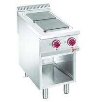 Diamond Fornuis elektrisch met 2 kookplaten op open kast | 2x 3kW/h - GN 1/1 | 6 kW/h | 400x900x850/920(h)mm