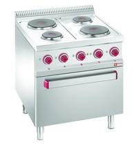 Diamond Fornuis elektrisch 4 platen 2x 1,5 kW/h & 2x 2,6 kW/h | Met elektrische oven GN 2/1 en grill 5,3 kW/h | 700x700x850/920(h)mm