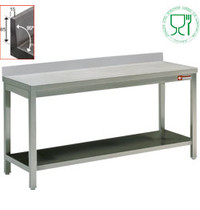 Diamond RVS Werktafel Met Bodemschap en Achteropstand | 700mm diep | 880mm hoog