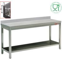 Diamond RVS Werktafel Met Bodemschap en Achteropstand   700mm diep   880mm hoog