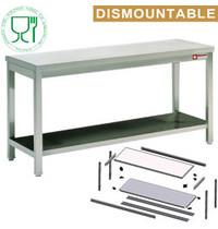 Diamond RVS Werktafel met Bodemschap Zelfmontage   700mm diep   850mm hoog