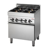 Modular Fornuis met gasoven (cap.4st.) | 22,2kW | Geëmailleerde oven met uitneembare geleiders | 700x650x850(h)mm