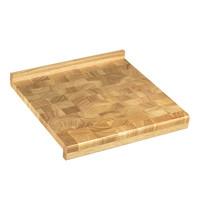 EMGA Trancheerplank/snijplank uit kops hout aan 2 zijden gekant 1 zijde met sap geul 39x39x4,5(h)cm
