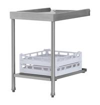 Elettrobar RVS aan/afvoer tafel met onderschap voor korven | 700mm breed | 700x675x850(h)mm