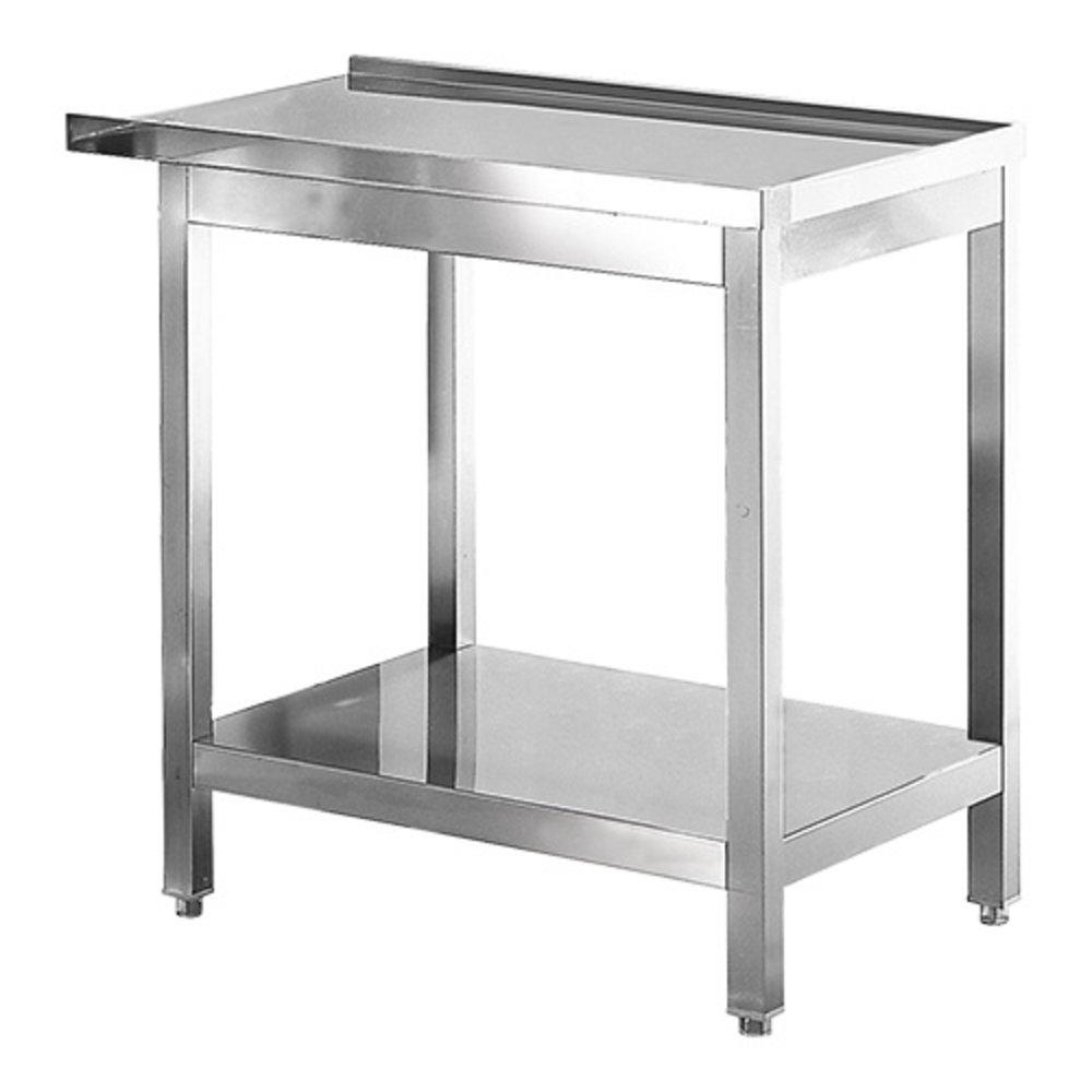 RVS aan/afvoer tafel met onderschap | 800x550x850(h)mm
