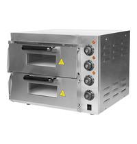 CaterChef pizza oven (40x40cm)x02 | 3kW | elke kamer is voorzien van separaat instelbare onder- en boven thermostaat | 585x560x434(h)mm