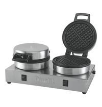 DUALIT Wafel bakapparaat | 1,6kW | met 2 thermostaten en 2 schakelaars | 160x400x220(h)mm