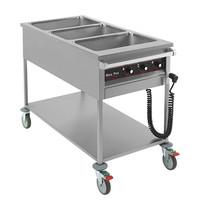 MAX PRO bain marie wagen GN1/1x3-200mm | 3kW | met ubber stootranden, aftapkraan | 1200x600x900(h)mm